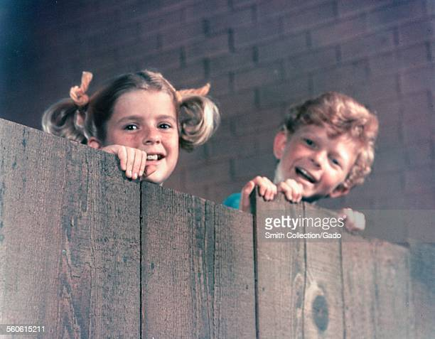 Actress Anissa Jones and Johnny Whitaker during filming of the television show 'Family Affair' 1967