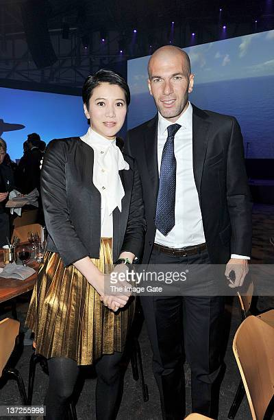Actress Anita Yuen Cheung and French footballer Zinedine Zidane attend the IWC Schaffhausen Top Gun Gala Event during the 22nd SIHH High Jewellery...