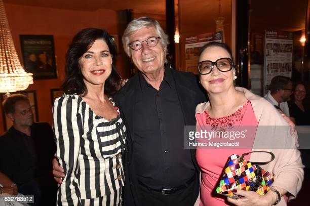 Actress Anja Kruse Christian Wolff and his wife Marina Wolff during the 'Aufguss' premiere at Komoedie im Bayerischen Hof on August 16 2017 in Munich...
