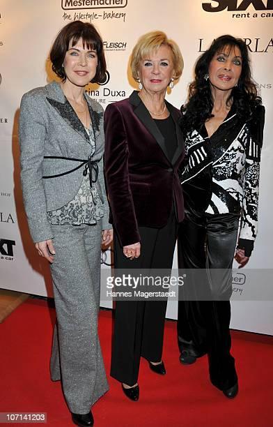 Actress Anja Kruse Liz Mohn and Dunja Rajter attend the Christina Duxa Couture Ladies Lunch at Hotel Bayerischer Hof on November 25 2010 in Munich...