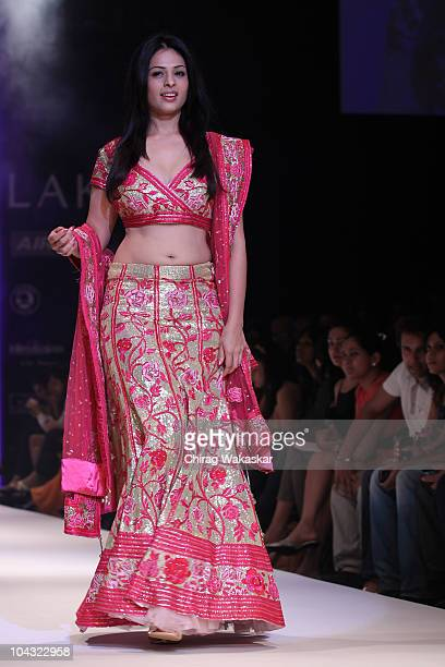 Actress Anjana Sukhani walks the runway in an AbhiRahul design at the Lakme Fashion Week Winter Festive 2010 Day 5 at the Grand Hyatt on September 21...