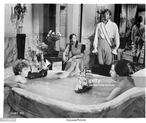 Actress Anjelica Huston actor Beau Bridges and actor Peter Boyle in a scene from the Universal Pictures movie 'Swashbuckler' circa 1976