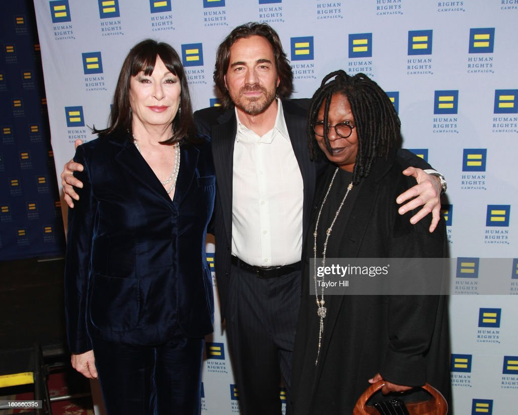 Actress Anjelica Huston, actor Thorsten Kaye, and actress Whoopi Goldberg attend The 2013 Greater New York Human Rights Campaign Gala at The Waldorf=Astoria on February 2, 2013 in New York City.
