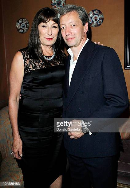 Actress Anjelica Huston and designer Frederic Malle attend Barney's New York Celebrates Frederic Malle's Home Collectionon on September 30 2010 in...