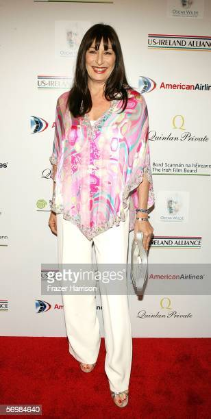 """Actress Anjelica Huston arrives at the US-Ireland and Alliance """"Oscar Wilde Awards: Honoring Irish Writing in Film"""" event held at the Ebell Club of..."""