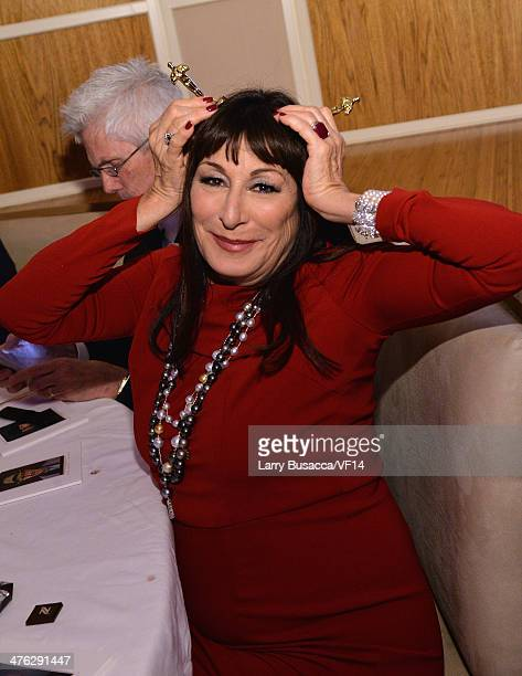 Actress Anjelica Huston attends the 2014 Vanity Fair Oscar Party Viewing Dinner Hosted By Graydon Carter on March 2 2014 in West Hollywood California
