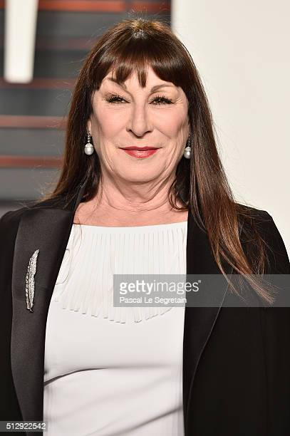 Actress Anjelica Huston attends the 2016 Vanity Fair Oscar Party Hosted By Graydon Carter at the Wallis Annenberg Center for the Performing Arts on...