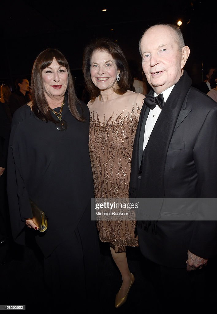 Actress Anjelica Huston, Sherry Lansing and Jerry Perenchio attend the 2014 LACMA Art + Film Gala honoring Barbara Kruger and Quentin Tarantino presented by Gucci at LACMA on November 1, 2014 in Los Angeles, California.