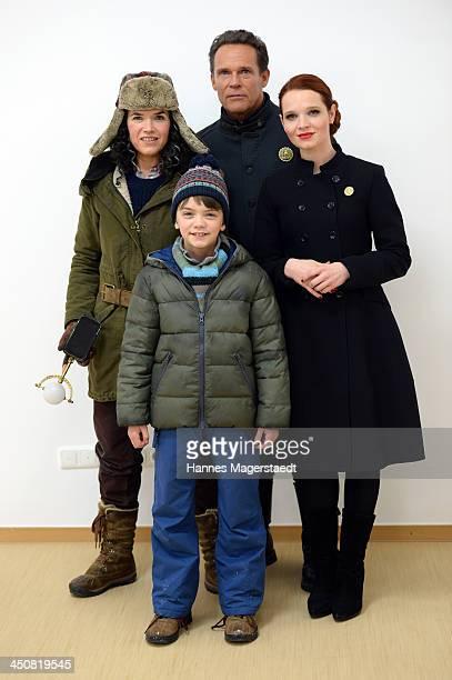 Actress Anke Egelke Milo Parker Christian Tramitz and Karoline Herfurth attend 'Gespensterjaeger Auf eisiger Spur' Photocall at the Bavaria Studios...