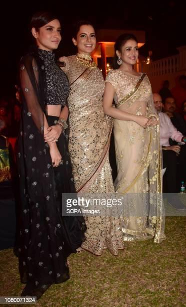 Actress Ankita Lokhande Kangana Ranaut and Mishti Chakraborty are seen during the music launch event of film 'Manikarnika' in Mumbai