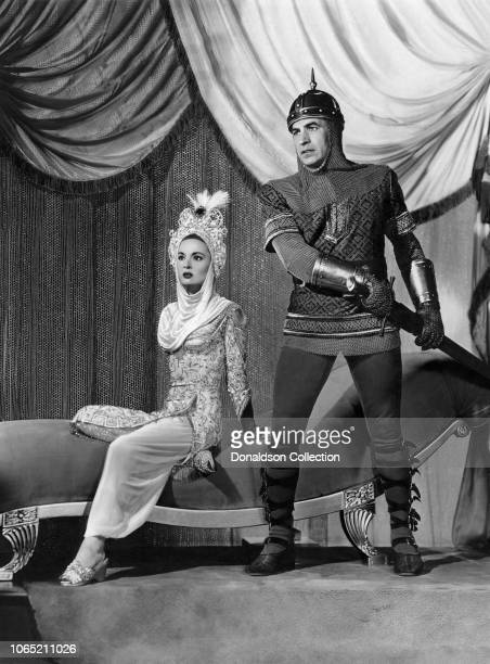 Actress Ann Blyth and David Farrar in a scene from the movie 'The Golden Horde'