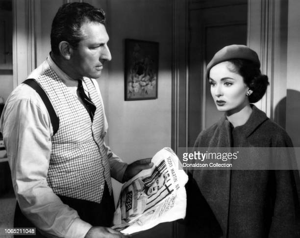 Actress Ann Blyth and Harold J Stone in a scene from the movie 'Slander'