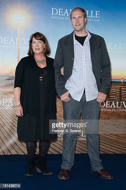 """Actress Ann Dowd and US director Craig Zobel pose during a photocall for the movie """"Compliance"""" during the 38th Deauville American Film Festival on..."""