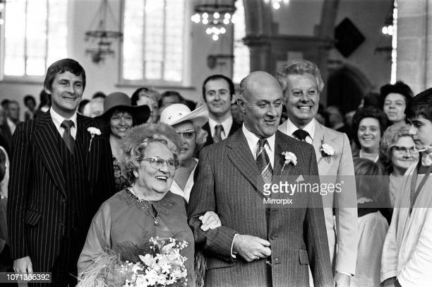 Actress Ann George marries Gordon Buckingham in Yarmouth Parish Church They are pictured with Danny la Rue who gave the bride away 4th September 1976