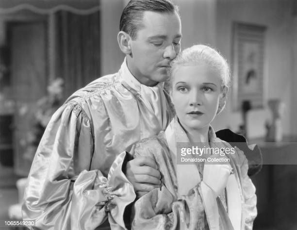 Actress Ann Harding and Herbert Marshall in a scene from the movie 'The Flame Within'
