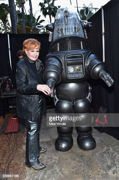 Actress Ann Robinson and Robby the Robot attend 'Forbidden Planet' screening during day 3 of the TCM Classic Film Festival 2016 on April 30 2016 in...
