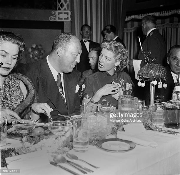 Actress Ann Sheridan talks with Mecca Graham during the Television Marathon at Mocambo's in Los AngelesCA