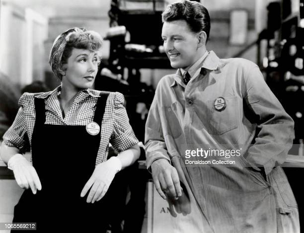 Actress Ann Sothern and Fred Brady in a scene from the movie Swing Shift Maisie