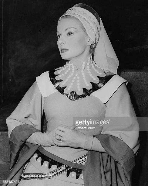 Actress Ann Todd in costume as Lady Percy during rehearsals for the Shakespeare play 'Henry IV' at the Old Vic Theatre London April 26th 1955