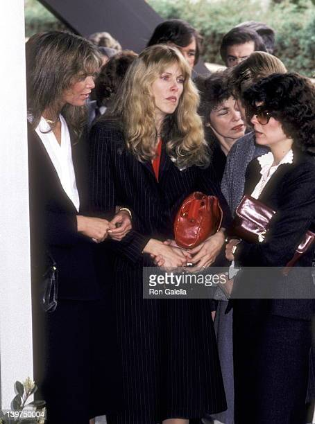 Actress Ann Turkel Actress Alana Stewart and Tina Stewart attend the Funeral Service for David Janssen on February 17 1980 at Hillside Memorial Park...