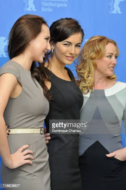 Actress Anna Anissimova Camila Belle and Virginia Madsen attend the 'Father Of Invention' Photocall during day five of the 60th Berlin International...