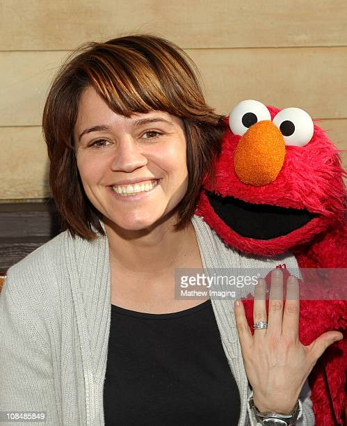 Actress Anna Belknap and Elmo attend the PBS SoCal Kids Event at the Jim Henson Company Studios on January 28 2011 in Hollywood California