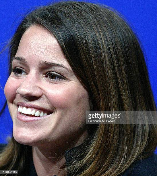 Actress Anna Belknap of 'Medical Investigation' speaks with the press at the 2004 TCA Summer Press Tour at the Century Plaza Hotel on July 10 2004 in...