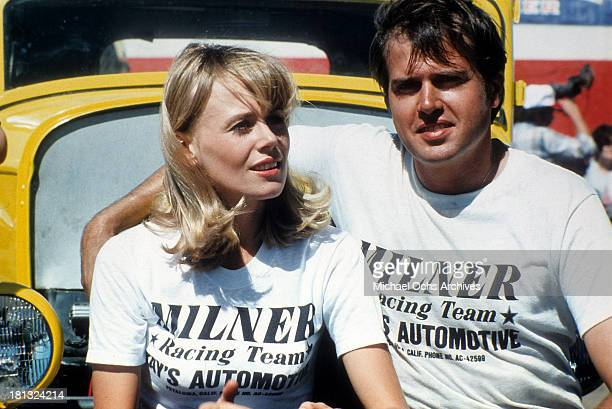 Actress Anna Bjorn and actor Paul Le Mat on the set of Universal Studios movie More American Graffiti in 1979