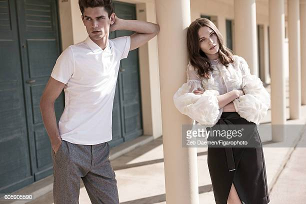 Actress Anna Brewster and model Arthur Gosse are photographed for Madame Figaro on June 24 2016 in Deauville France Arthur Polo pants Anna Blouse...