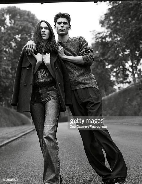 Actress Anna Brewster and model Arthur Gosse are photographed for Madame Figaro on June 24 2016 in Deauville France Anna Coat top jeans Arthur...