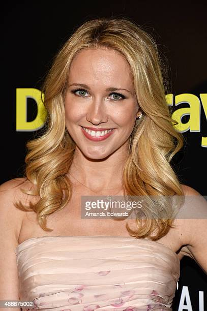 Actress Anna Camp arrives at the Los Angeles premiere of Dial A Prayer at the Landmark Theater on April 7 2015 in Los Angeles California