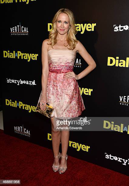 """Actress Anna Camp arrives at the Los Angeles premiere of """"Dial A Prayer"""" at the Landmark Theater on April 7, 2015 in Los Angeles, California."""