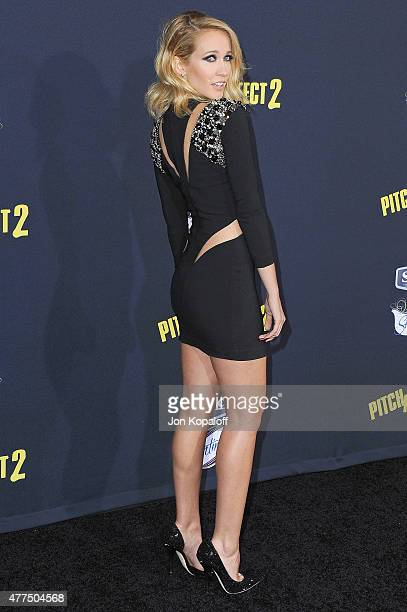 Actress Anna Camp arrives at the Los Angeles Premiere 'Pitch Perfect 2' at Nokia Theatre LA Live on May 8 2015 in Los Angeles California
