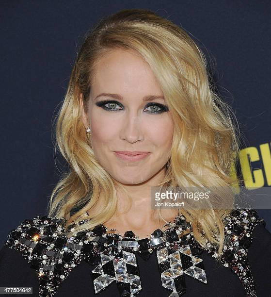 Actress Anna Camp arrives at the Los Angeles Premiere Pitch Perfect 2 at Nokia Theatre LA Live on May 8 2015 in Los Angeles California