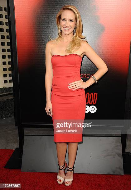"""Actress Anna Camp attends the season 6 premiere of HBO's """"True Blood"""" at ArcLight Cinemas Cinerama Dome on June 11, 2013 in Hollywood, California."""
