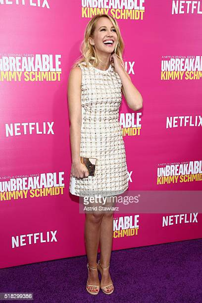 Actress Anna Camp attends the 'Unbreakable Kimmy Schmidt' Season 2 world premiere at SVA Theatre on March 30 2016 in New York City