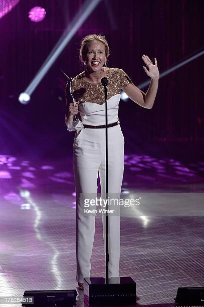Actress Anna Camp receives the One to Watch Award onstage during CW Network's 2013 Young Hollywood Awards presented by Crest 3D White and SodaStream...