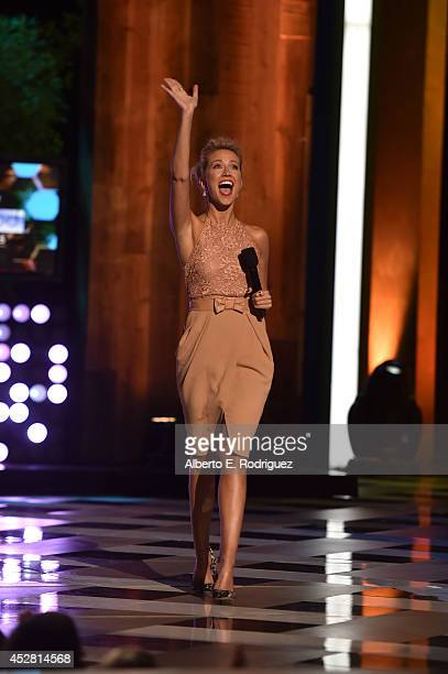 Actress Anna Camp speaks onstage at the 2014 Young Hollywood Awards brought to you by Samsung Galaxy at The Wiltern on July 27 2014 in Los Angeles...
