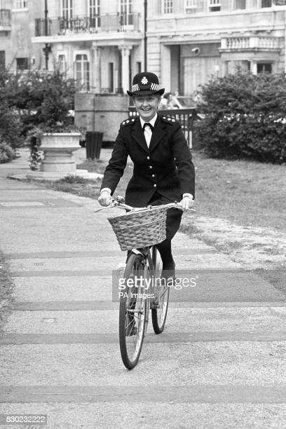 Actress Anna Carteret the new star of the BBC TV police series Juliet Bravo on a bicycle in London