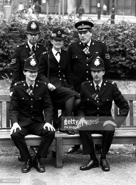 Actress Anna Carteret who stars in BBC television's Juliet Bravo police series with some of the main cast of Hartley Police Station in London actors...