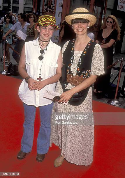 Actress Anna Chlumsky and mother Nancy Chlumsky attend the 'Dennis the Menace' Hollywood Premiere on June 19 1993 at Mann's Chinese Theatre in...