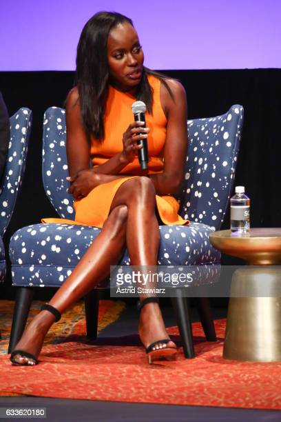 "Actress Anna Diop speaks at a QA for ""24 Legacy"" during Day One of the aTVfest 2017 presented by SCAD on February 2 2017 in Atlanta Georgia"