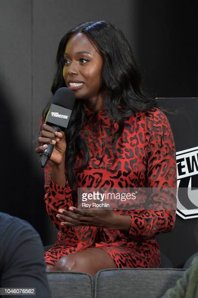 Actress Anna Diop speaks onstage at the Titans Panel during the New York Comic Con 2018 at Javits Center on October 5 2018 in New York City