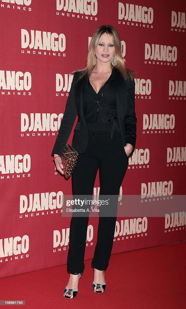 Actress Anna Falchi attends 'Django Unchained' premiere at Cinema Adriano on January 4, 2013 in Rome, Italy.