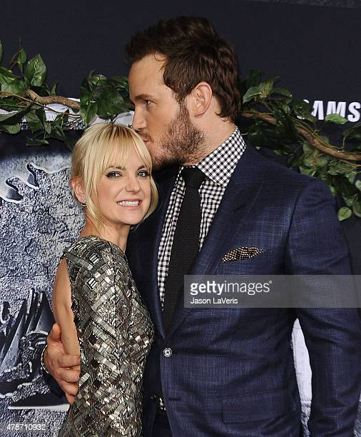 Actress Anna Faris and actor Chris Pratt attend the premiere of Jurassic World at Dolby Theatre on June 9 2015 in Hollywood California