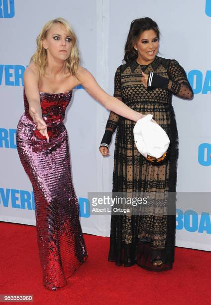 Actress Anna Faris and actress Eva Longoria arrive for the Premiere Of Lionsgate And Pantelion Film's 'Overboard' held at Regency Village Theatre on...