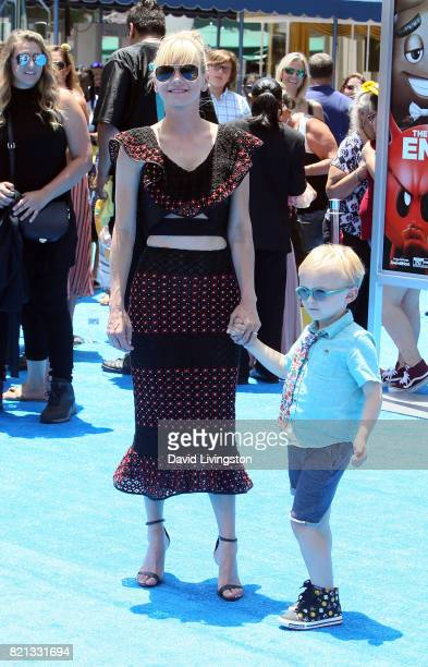 Actress Anna Faris and son Jack Pratt attend the premiere of Columbia Pictures and Sony Pictures Animation's The Emoji Movie at the Regency Village...