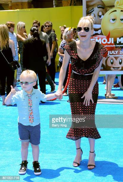 Actress Anna Faris and son Jack Pratt attend the premiere of Columbia Pictures and Sony Pictures 'The Emoji Movie' at Regency Village Theatre on July...