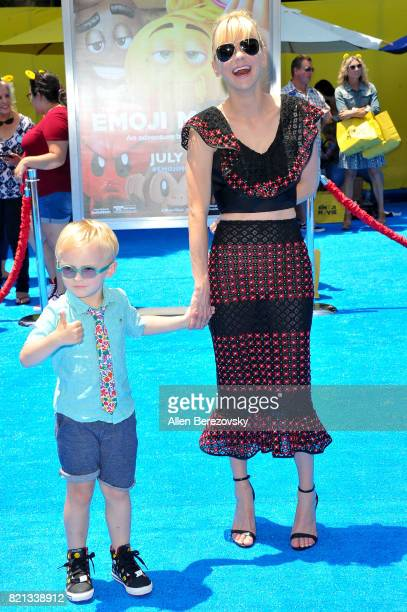 Actress Anna Faris and son Jack Pratt attend the premiere of Columbia Pictures and Sony Pictures Animation's The Emoji Movie at Regency Village...