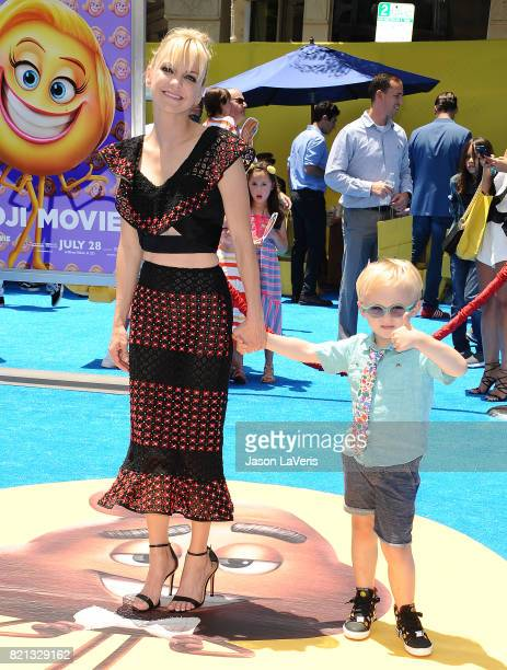 Actress Anna Faris and son Jack Pratt attend the premiere of 'The Emoji Movie' at Regency Village Theatre on July 23 2017 in Westwood California